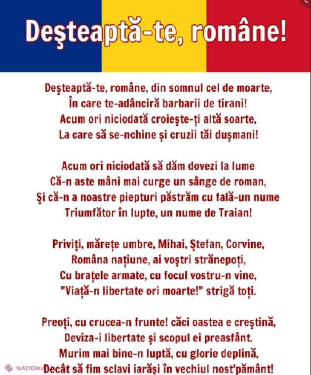 """Ziua imnului naţional al României - """"Deşteaptă-te, române!"""" Timp de trei ani a fost și imnul oficial al R. Moldova"""