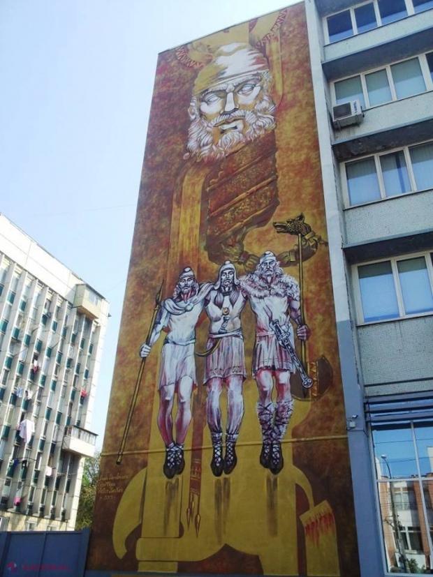 FOTO // Decebal, în Chișinău: Pictură murală GIGANTICĂ